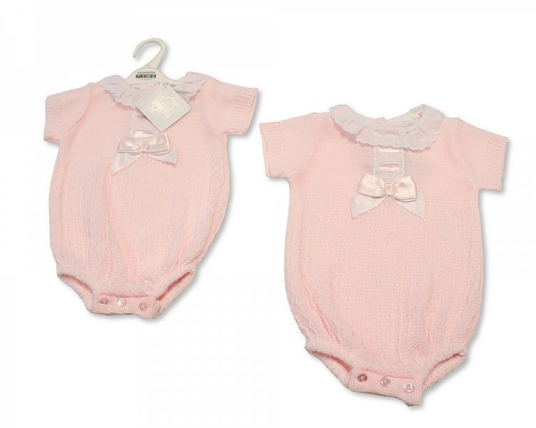 BW006, Baby Girls Knitted Romper with Bow and Lace £10.80.  PK6..