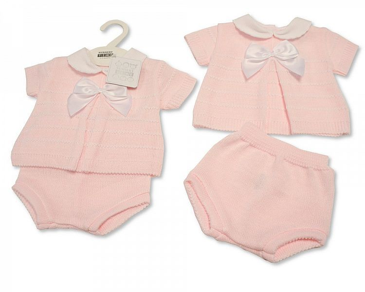 BW004, Baby Girls Knitted 2 Pieces Set with Bow £10.65.  PK6..