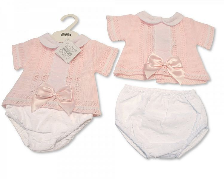 BW003, Baby Girls Knitted 2 Pieces Set with Bow and Lace £11.00.  PK6..