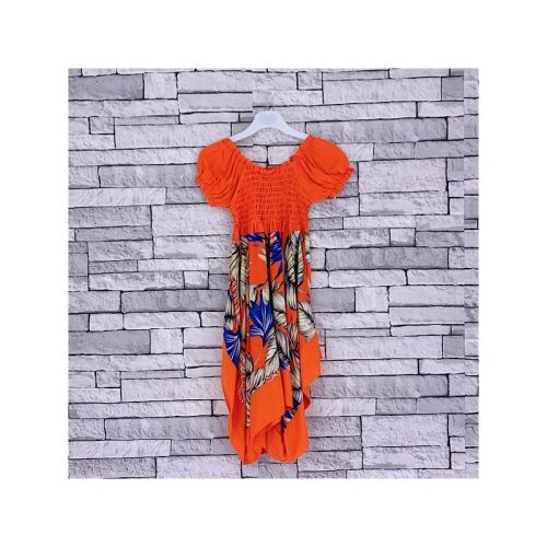FD3ORANGE, Girls Orange Tropical Dress £3.95.  pk5...