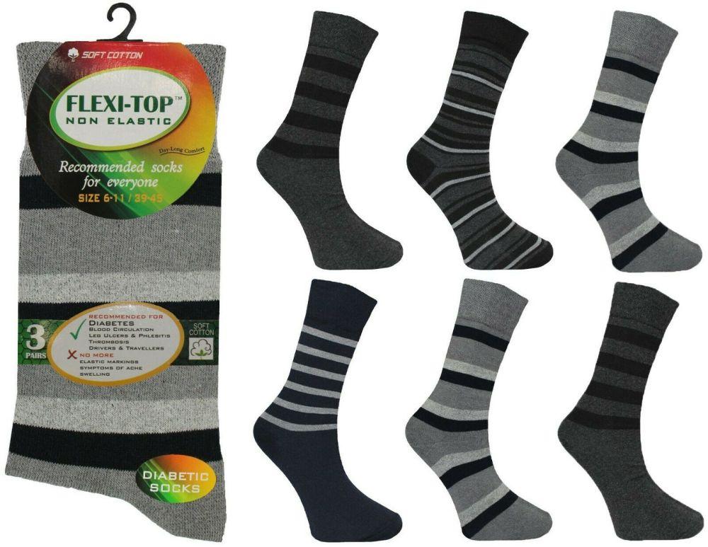 AF32, Mens non elastic stripe design socks. 1 dozen.....