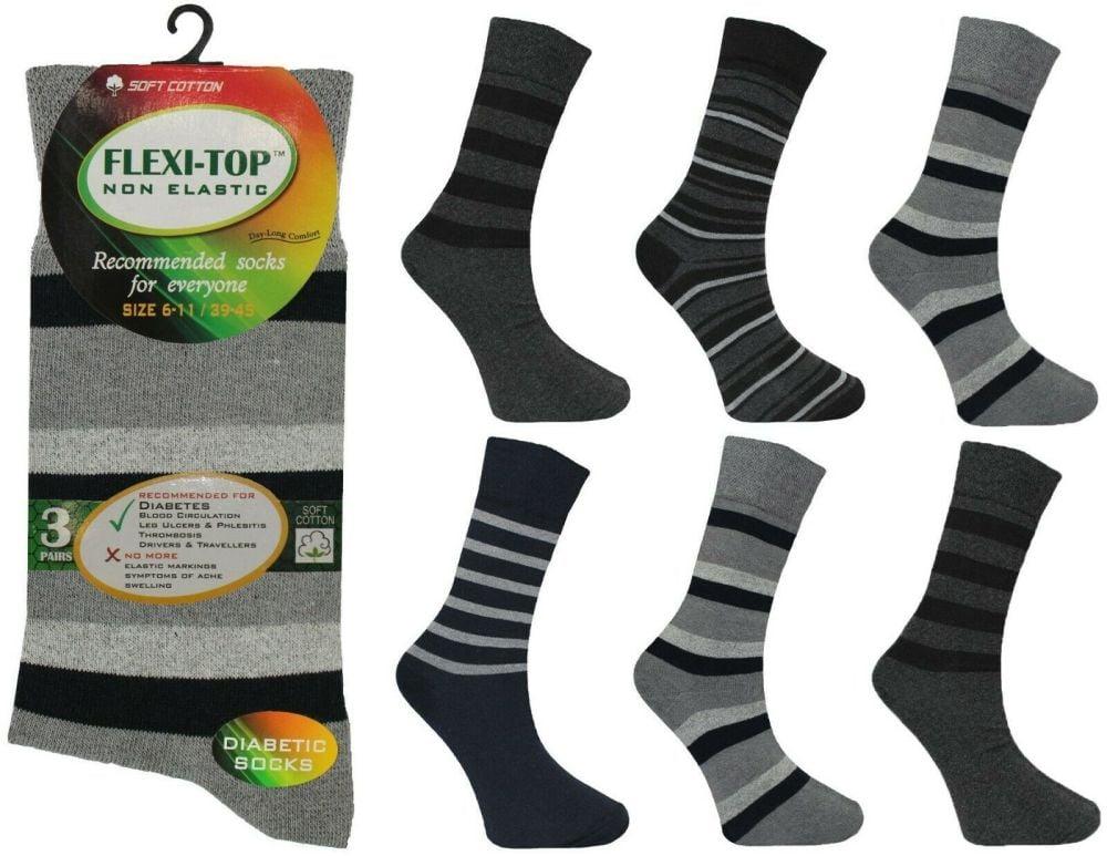 AF32, Mens non elastic stripe design socks £4.60 a dozen.   10 dozen.....