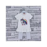 Z2011WHITE, Girls Unicorn Rainbow T-shirt & Legging Set £4.50.   pk5...