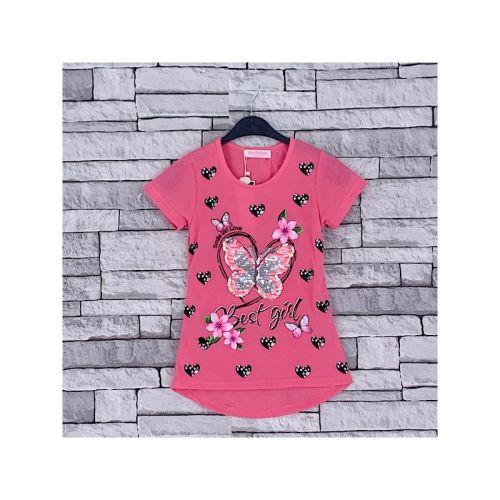 FB244D/PINK, Girls Butterfly Heart T shirt  with detail as shown £2.75.  pk7...