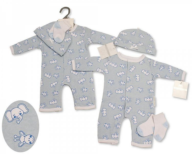 *BIS2314, Baby Boys All-In-One with Hat and Socks - Elephant/ Giraffe £4.9