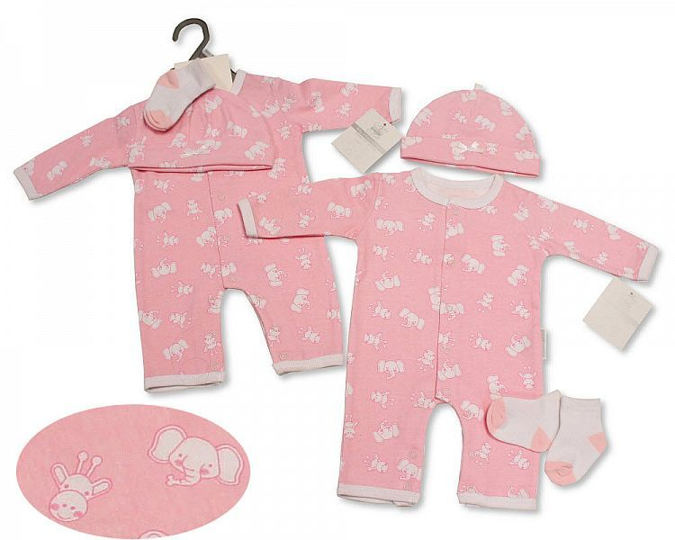 *BIS2313, Baby Girls All-In-One with Hat and Socks - Elephant/ Giraffe £4.9