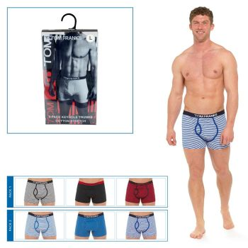 "BR417, ""Tom Franks"" Brand Mens 3 in a Pack Keyhole Boxers in PVC Box £4.30.  20pks.."
