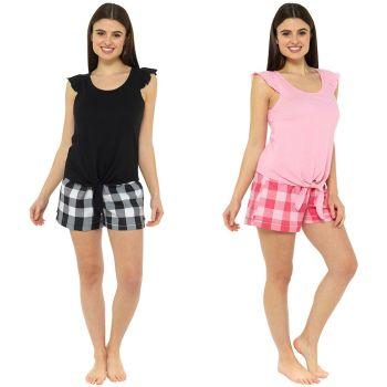 *LN1199, Ladies Jersey Ruffle Tie Top with Check Shorts Pyjama Set £5.60.  pk36..