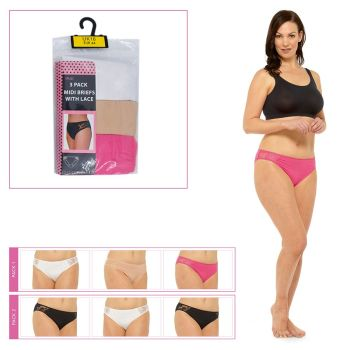 BR319, Ladies 3 in a pack briefs with lace £2.50.  12pks.......