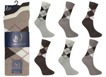 RL0025, Mens design socks £3.75 per dozen, 10 dozen....
