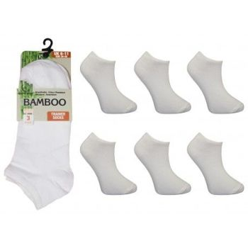 RLB876, Mens Bamboo Trainer Socks- White.  1 dozen...