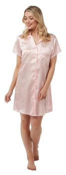"IN21226, ""Indigo Sky"" Ladies Striped Satin Nightshirt £4.25.   pk2..."