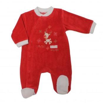 JTC8141, Baby Christmas Velour All In One - Santas Little Helper £4.75.  pk12...