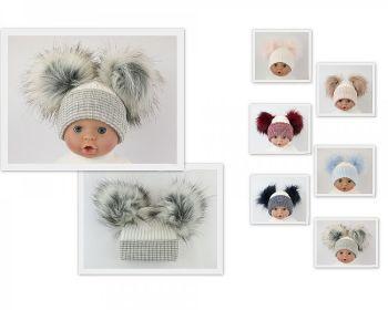 BW0607, Baby Hat with Double Pom-Pom £5.95.  PK6....