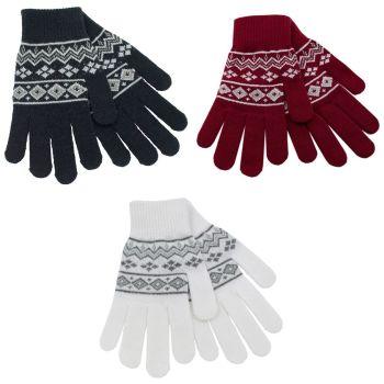 GL540A, Ladies Fairisle Gloves With Glitter . 1 dozen...