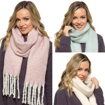 GL832, Ladies Brushed Scarf With Tassles £3.40.   pk12....
