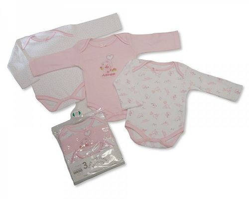 BW202G, Girls 3 in a pack long sleeve cotton body vest £4.65.  8pks....