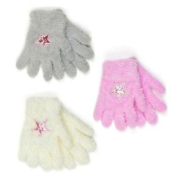 GL939, Girls Soft Gloves With Motif £0.85.  pk12...