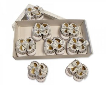 BSS366G, Baby Booties with Bow and Lace - Grey £3.90.   PK8....