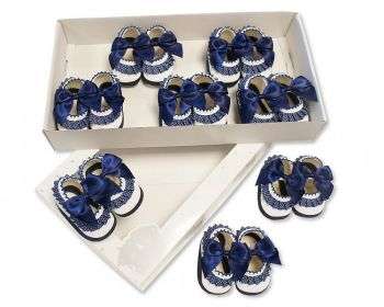 BSS366B, Baby Booties with Bow and Lace - Blue £3.90.   PK8....