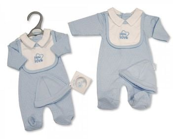 PB353, Premature Baby Boys All in One with Hat - Little Love £5.65.  PK6...