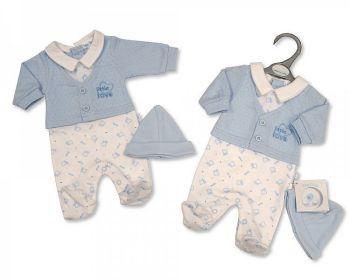 PB351, Premature Baby Boys Faux 2 Pieces Set with Hat - Little Love £6.20.  PK6...