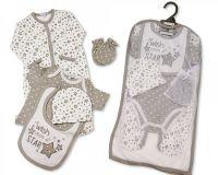GP1028, Baby 5 Pcs Gift Set - Wish Upon a Star (Sleepsuit, Short Sleeved Bodyvest, Bib, Hat, Mittens) £5.95.  pk6..