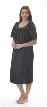 "MA04135, ""Marlon"" Ladies Satin Lace Nightdress - Black £4.95.  pk2..."