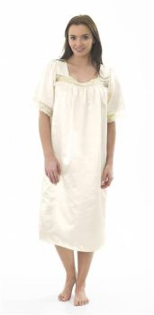 "MA04135, ""Marlon"" Ladies Satin Lace Nightdress - Ivory £4.95.  pk2..."