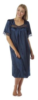 "MA04135, ""Marlon"" Ladies Satin Lace Nightdress - Navy £4.95.  pk2..."