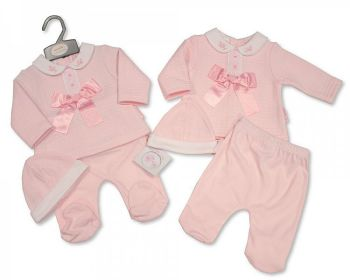 BIS2356, Baby Girls 2 Pieces Bow and Lace Set with Hat £8.40.  PK6...