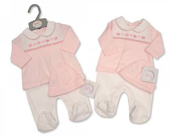 BIS2353, Smocked Baby Girls Faux 2 Pieces Set with Hat - Little Birds £5.90.  PK6...