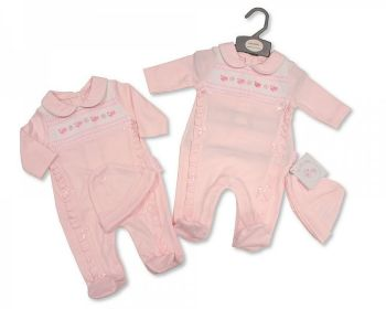 BIS2352, Smocked Baby Girls All in One with Hat - Little Birds £5.90.  PK6...