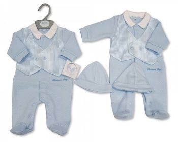 BIS2351, Baby Boys Faux 2 Pieces Set with Hat - Handsome Boy £5.90.  PK6...