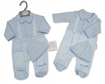 BIS2349, Baby Boys Faux Dungaree Set with Hat - Handsome Boy £5.90.  PK6...