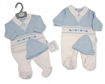 BIS2348, Smocked Baby Boys Faux 2 Pieces Set with Hat - Little Birds £5.90.  PK6...