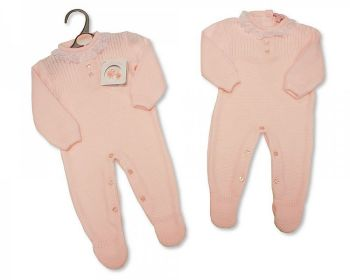 BW1097, Long Knitted Baby Girls Romper with Lace £10.40.  PK6..