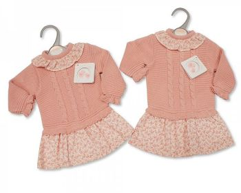 BW1094, Knitted/Woven Baby Girls Dress - Floral £10.40.  PK6..