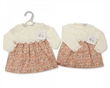 BW1088, Knitted/Woven Baby Girls Dress - Floral £10.40.  PK6..