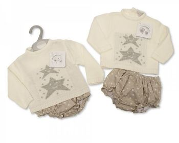 BW1085, Knitted/Woven Baby 2 Pieces Set - Stars £10.40.  PK6..