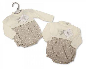 BW1084, Knitted/Woven Baby Romper - Stars £10.40. PK6...