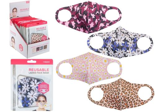 Code:755035, Reusable Stretchable Ladies Face Mask £0.80.   pk60...