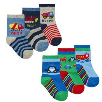 44B887, Baby Boys 3 in a pack cotton rich design socks £1.05.   24pks...