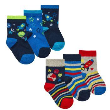 44B891, Baby Boys 3 in a pack cotton rich design socks £1.05.   24pks...