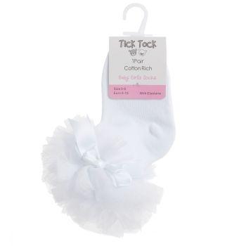 44B880, Baby Girls TuTu Frill Socks- White £1.20.   pk12...