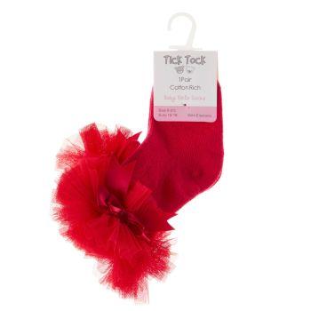 44B882, Baby Girls TuTu Frill Socks- Red £1.20.   pk24...