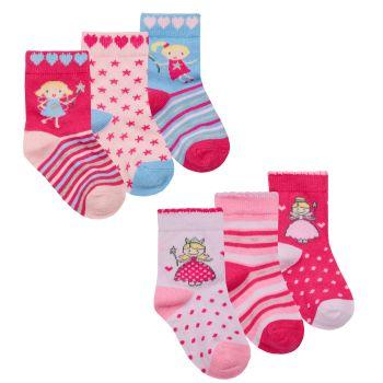 44B895, Baby Girls 3 in a pack cotton rich design socks £1.05.   24pks...