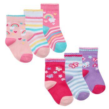44B899, Baby Girls 3 in a pack cotton rich design socks £1.05.   24pks...