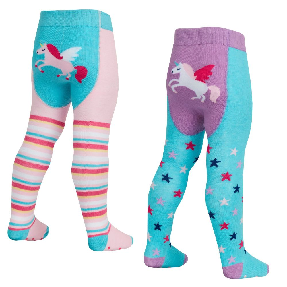 45B145, Baby girls cotton rich patch panel design tights with grippers £1.3