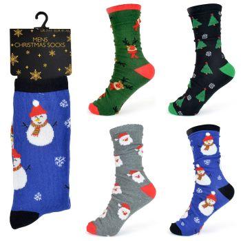 "SK028B, Mens ""Xmas"" Design Socks £7.00 a dozen.   10 dozen..."